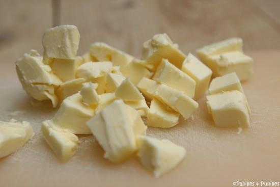 Mantequilla, cortada en cubitos
