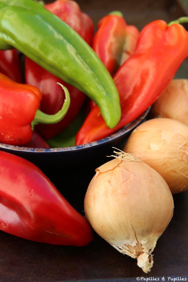 Pimientos y cebollas